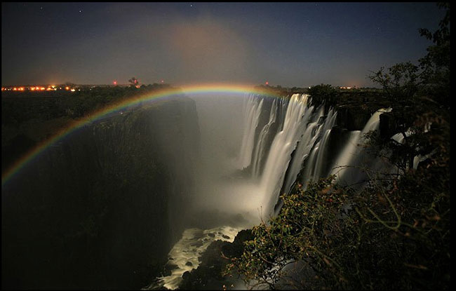 Moonbow: Victoria Falls viewed from the Zambian side