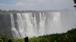 Victoria Falls as seen from the Zimbabwe side. They weren't all dried up.