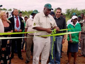 Minister Saviour Kasukuwere accepts the donation from Grundfos at a ceremony at the site on Monday, 3 March