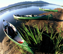 Canoes along the Zambezi River