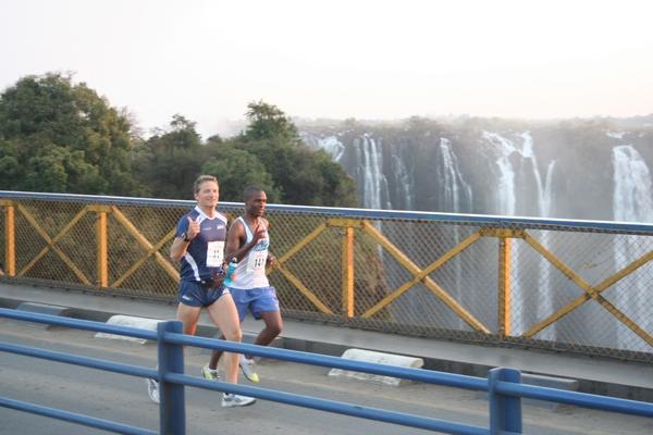 Running over Victoria Falls Bridge