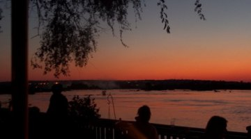 Sunset from the Royal Livingstone in Livingstone, Zambia.