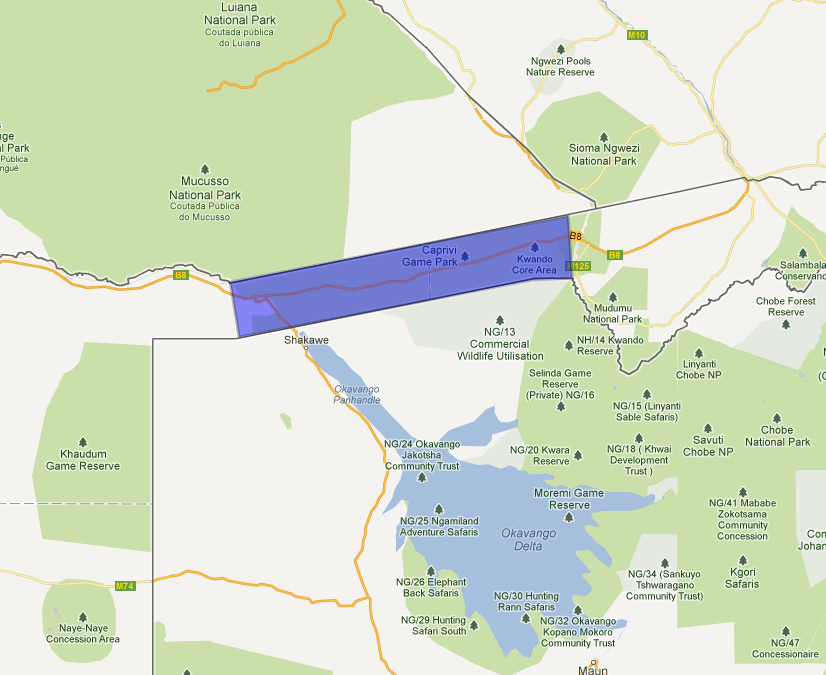The Caprivi Strip - view on google maps at hhhhh