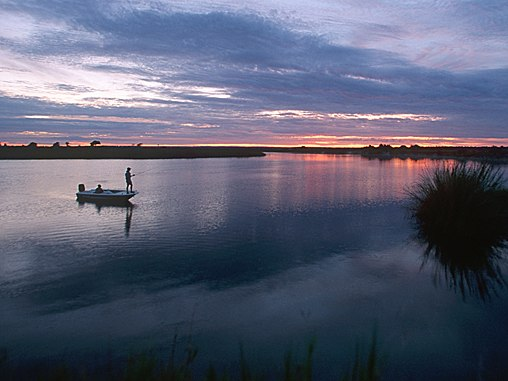 A man fishing on the Chobe River, Caprivi Strip, Namibia