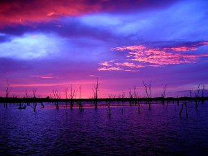Lake Kariba just before the sun dissappears and the night sets in