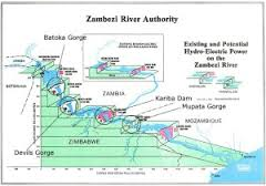 Zambezi River map showing where the Batoka Dam will be built