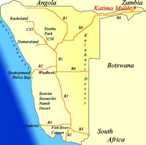 Map of Namibia showing Katima Mulilo in the North East
