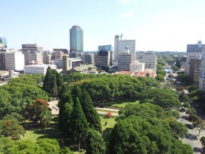 View from Meikles Hotel of Zimbabwe's 'Sunshine City'