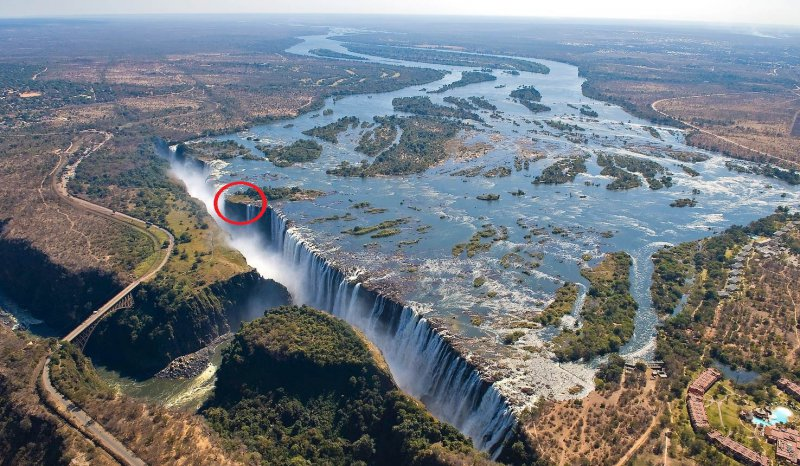 Livingstone Island circled in red which lies along the Victoria Falls lip