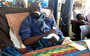 Kelvin Katoka in his hospital bed at the Kitwe Central Hospital