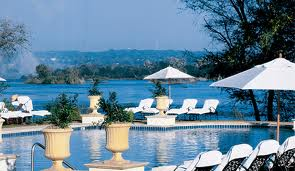 Royal Livingstone Hotel which is located just above the Falls on the Zambezi River
