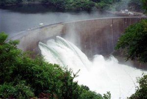 Kariba Dam with 3 floodgates open