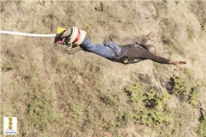 Zambia Daily Mail deputy managing director Anthony Mukwita takes a leap at the famed Victoria Falls Bungee Jumping site in Livingstone on Saturday.