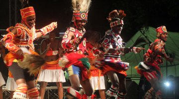 A traditional dance group perform Likumbi Lya Mize, a traditional Zambian dance from the northern-western province of the country.