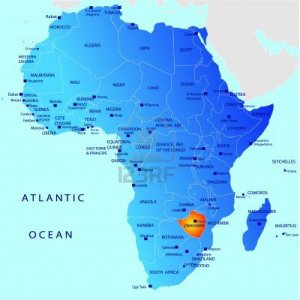 African Map highlighting Zimbabwe as one of the major tourist destinations