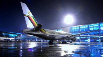 Air Zimbabwe parked at the Harare International Airport awaiting its next flight
