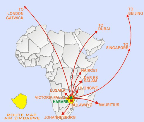 Air Zimbabwe\'s Route Map | VictoriaFalls24