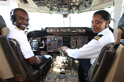 Air Zimbabwe's pilots in the cockpit