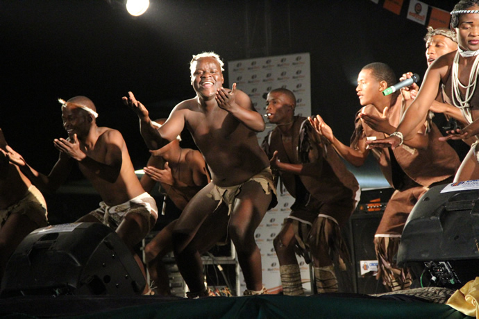 Botswana based cultural dance group peformes during the UNWTO musical gala at Victoria Falls Primary School