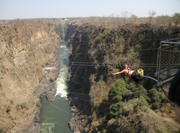 Candy Bungee jumping into Zambezi river