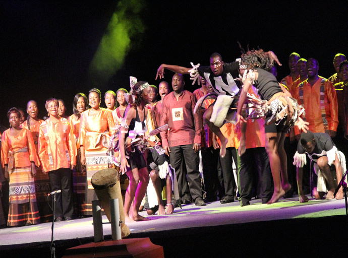 Celebration Church choir performing during the official opening of the UNWTO General Assembly at Victoria Falls hotel
