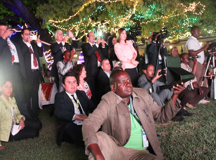 Delegates following proceedings during the UNWTO official opening at Victoria Falls hotel last Sunday