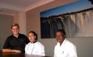General Manager Roddy Meiring, Head Chef Deena Magan and Front Office Manager, Martin Gwapedza part of the team ready to welcome guests on the 1st of August 2013