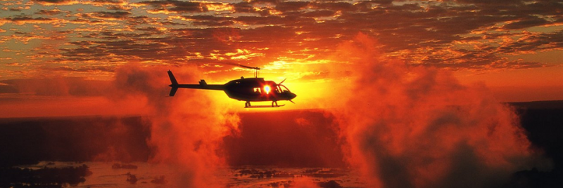Helicopter flying over the almighty Victoria Falls