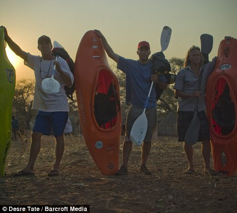 Kayakers Steve Fisher, Sam Drevo, Dale Jardine