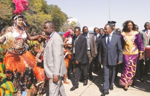 President Sata arrives in Livingstone for the official closure of the 20th session of the United Nations World Tourism Organisation (UNWTO) general assembly yesterday