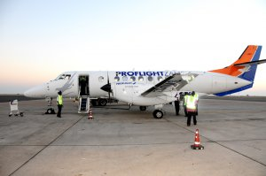 Proflight Zambia's aircraft on the tarmac in Lilongwe after its inaugural flight in June