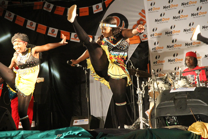 Sandra Ndebele performing some of her popular dances during the UNWTO tourism night musical gala at Victoria Falls Primary School