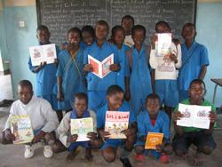 School in Liivngstone having just recieved books