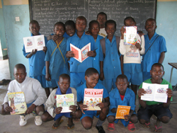 School in Liivngstone having just recieved books