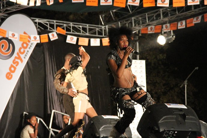 Slizer on stage during the UNWTO tourism night musical gala at Victoria Falls Primary School