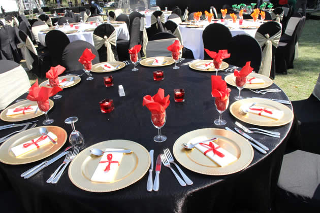 Tables set at Livingstone hotel for the official closing ceremony of the UNWTO 20th General Assembly later today in Zambia