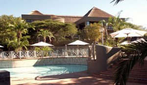 The pool deck of the luxurious Elephant Hills Hotel and Golf Resort