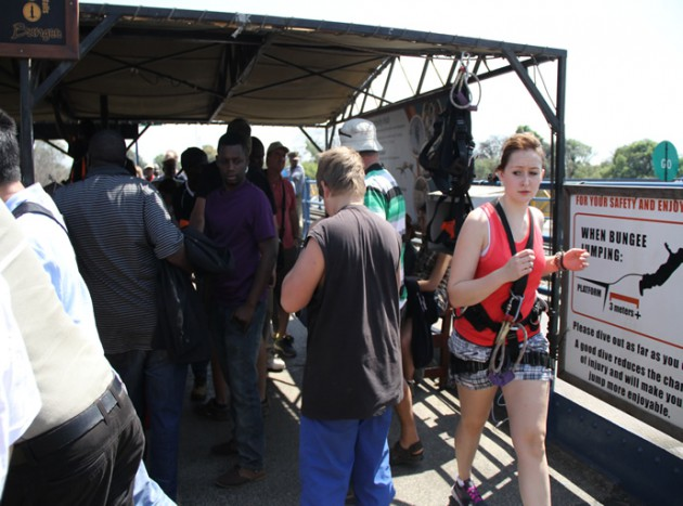 Tourists at Victoria Falls Bridge 1