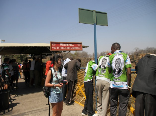 Tourists at Victoria Falls Bridge
