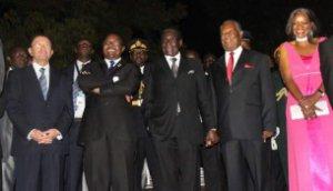UNWTO Secretary General Taleb Rifai, Zimbabwe's Tourism Minister Walter Mzembi, Zimbabwe's President Robert Mugabe, Zambia's President Michael Sata and Zambia's Tourism Minister Sylvia Masebo