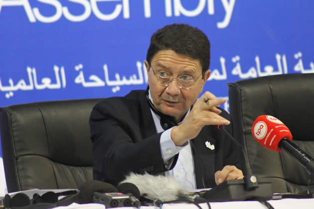 UNWTO Secretary General Taleb Rifai makes some remarks during a round up press conference in Livingstone Zambia
