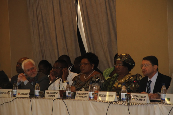 VP Joice Mujuru,Malawian President Joyce Banda,UNWTO Secretary General Mr Taleb Rifai by Tourism and Hospitality Industry Minister Engineer Walter Mzembi - Ministerial Roundtable session at Elephant Hills
