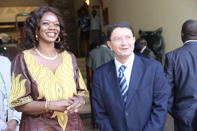 Zambian Tourism and Arts Minister Mrs Sylvia Masebo shares a lighter moment with UNWTO secretary general Mr Taleb Rifai before a meeting at Elephant Hills hotel in Victoria Falls