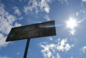 Zimbabwe Border Post Sign at Victoria Falls