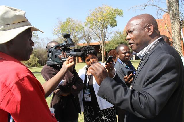 Zimbabwe Tourism Authority CEO Mr Karikoga Kaseke during an interview with journalists at Zambezi Sun hotel in Livingstone Zambia.