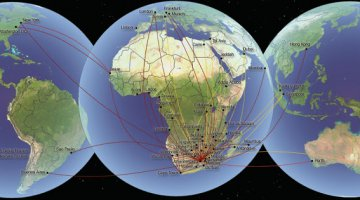 Airline route map to or from Southern Africa