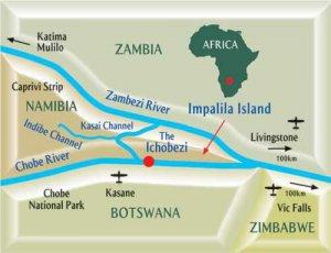 Chobe River meets the Zambezi River above Victoria Falls