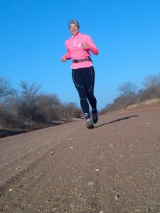 Isabel running through Botswana