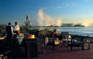 Royal Livingstone Hotel's Deck on the edge of the Zambezi River