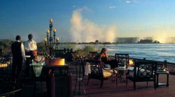 Royal Livingstone Hotel's Deck on the edge of the Zambezi River